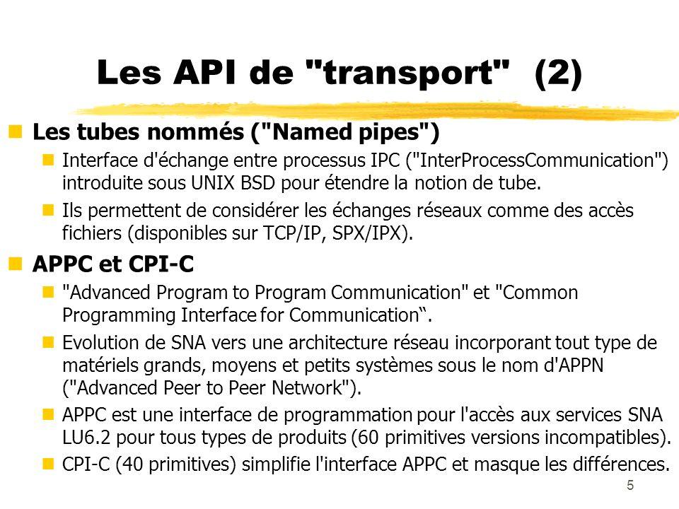 Les API de transport (2) Les tubes nommés ( Named pipes )