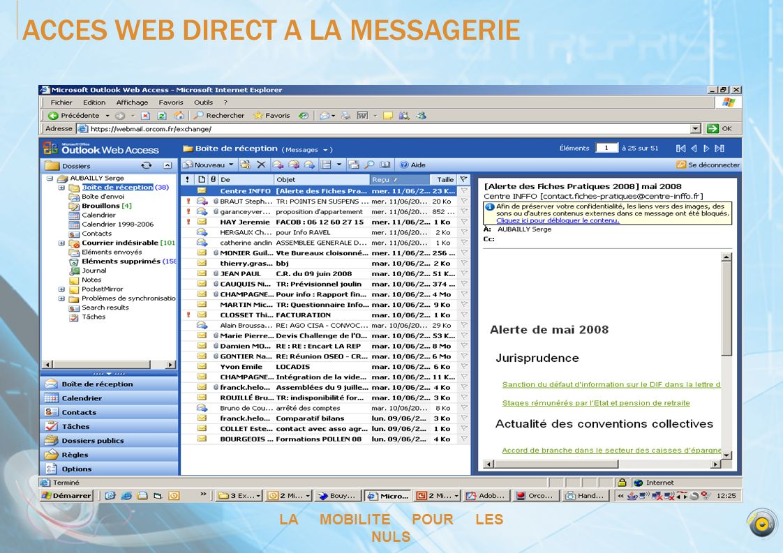 ACCES WEB DIRECT A LA MESSAGERIE