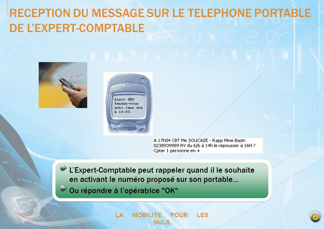 RECEPTION DU MESSAGE SUR LE TELEPHONE PORTABLE DE L'EXPERT-COMPTABLE