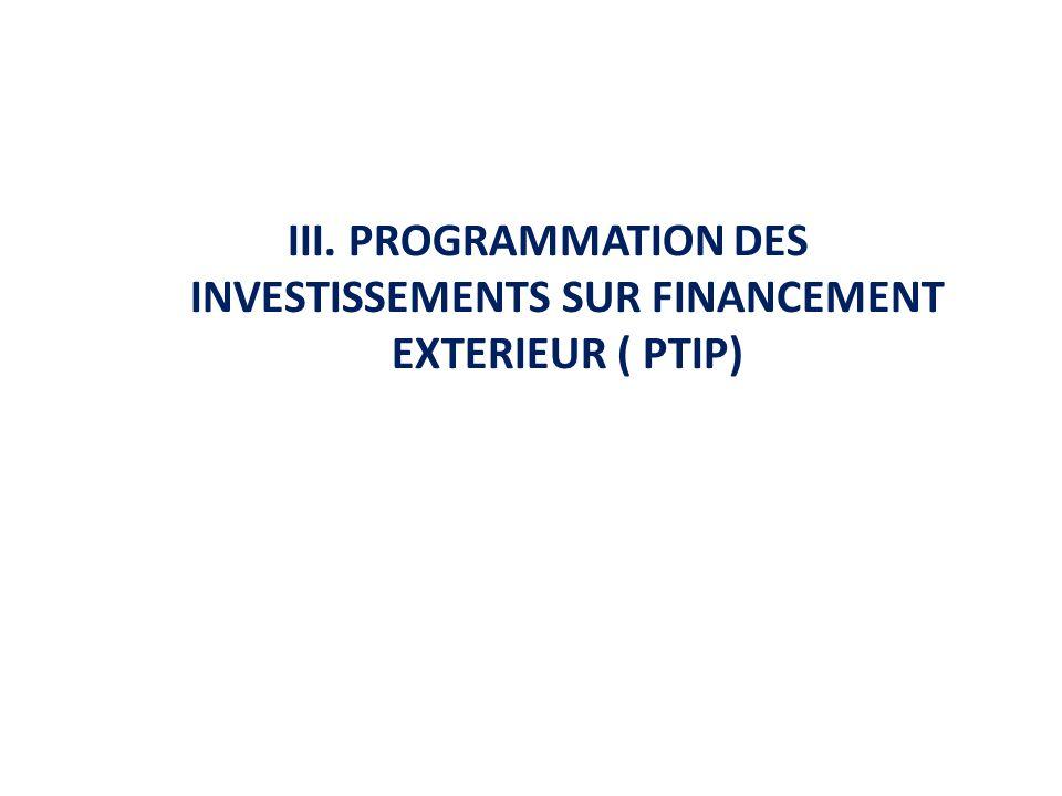 III. PROGRAMMATION DES INVESTISSEMENTS SUR FINANCEMENT EXTERIEUR ( PTIP)