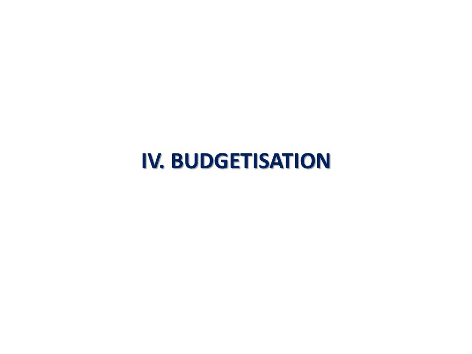 IV. BUDGETISATION