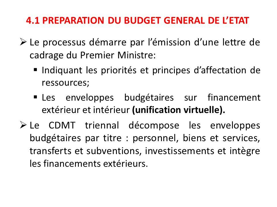 4.1 PREPARATION DU BUDGET GENERAL DE L'ETAT