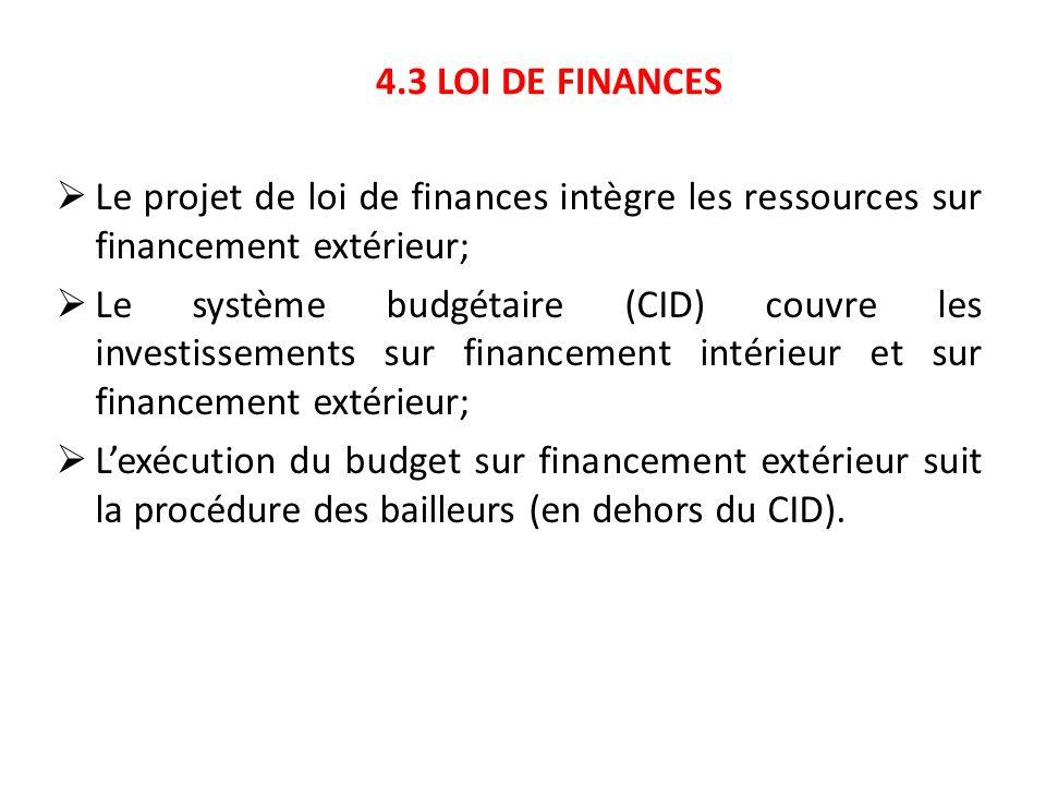 4.3 LOI DE FINANCES Le projet de loi de finances intègre les ressources sur financement extérieur;