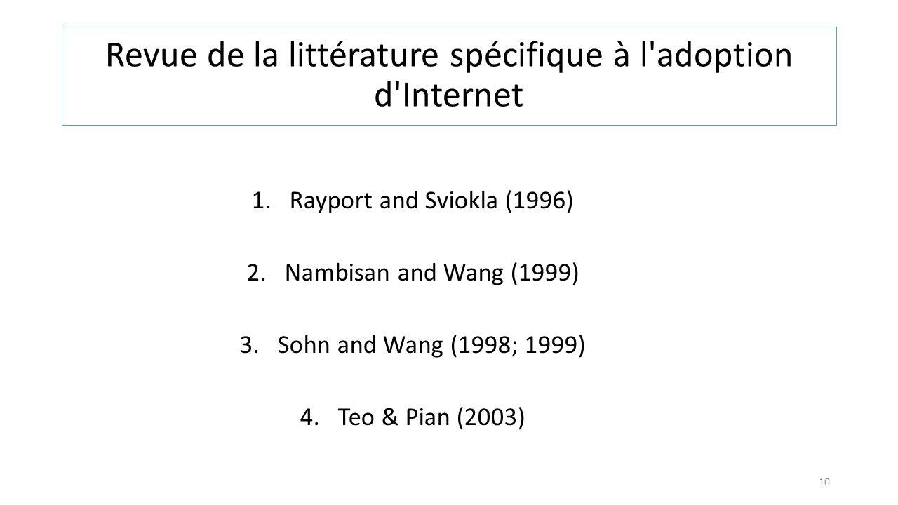 Revue de la littérature spécifique à l adoption d Internet