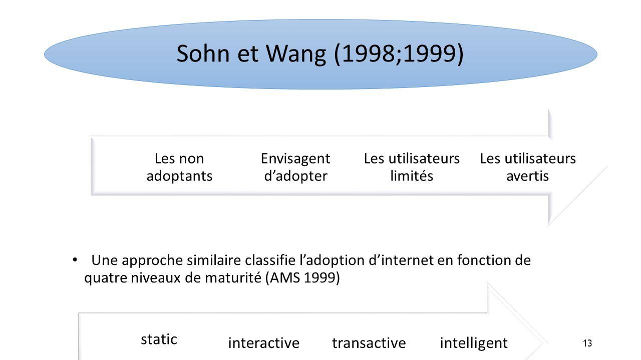 Sohn et Wang (1998;1999) Les non adoptants Envisagent d'adopter