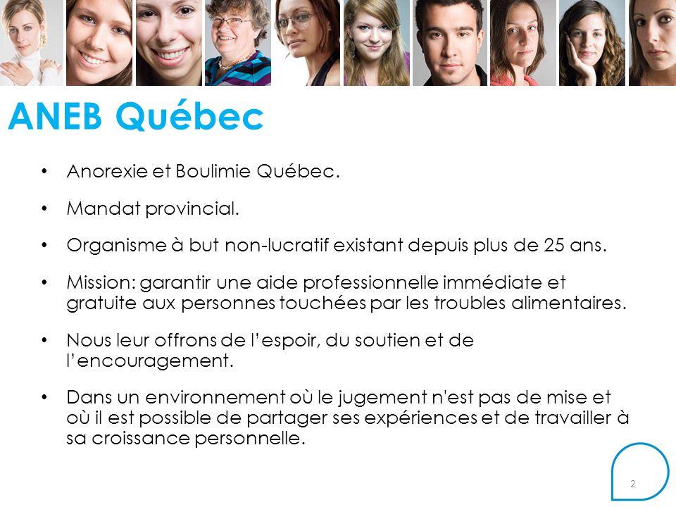 ANEB Québec Anorexie et Boulimie Québec. Mandat provincial.
