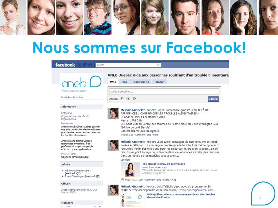 Nous sommes sur Facebook!