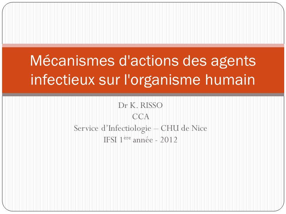 Mécanismes d actions des agents infectieux sur l organisme humain