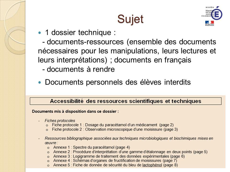 Sujet 1 dossier technique :