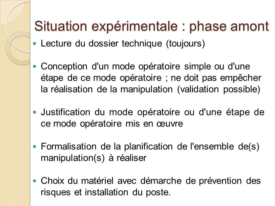 Situation expérimentale : phase amont