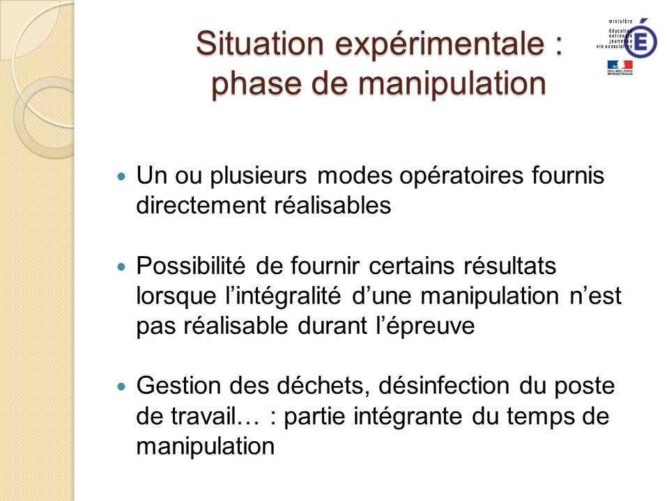 Situation expérimentale : phase de manipulation