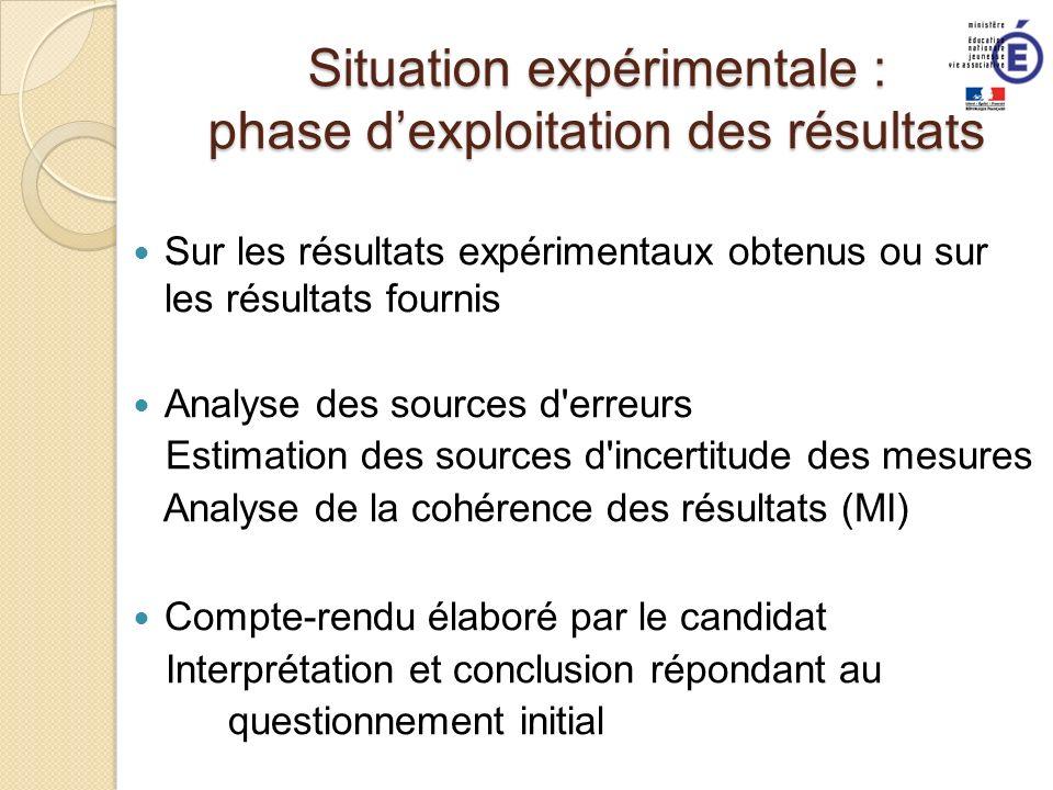 Situation expérimentale : phase d'exploitation des résultats