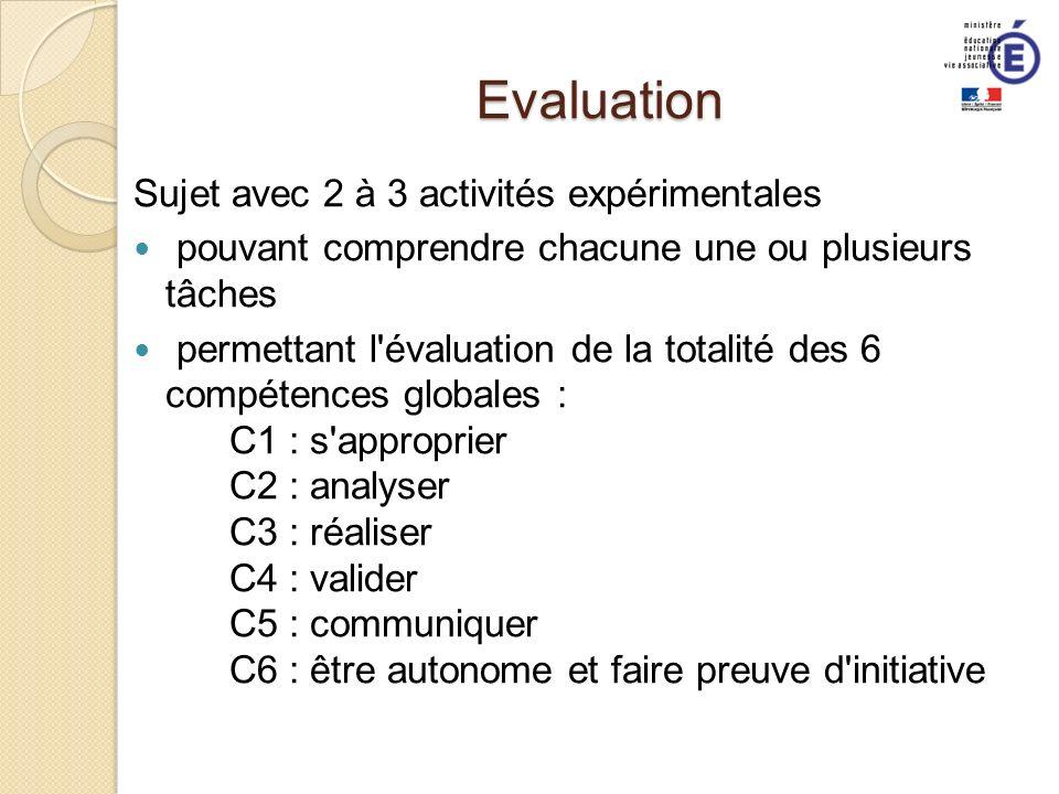 Evaluation Sujet avec 2 à 3 activités expérimentales