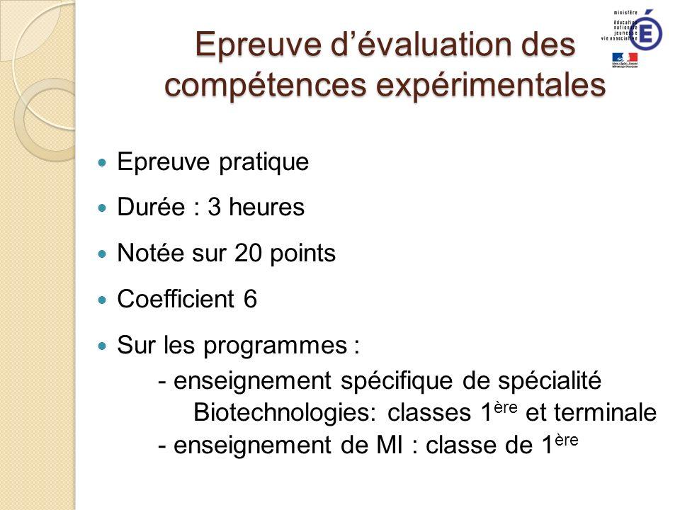 Epreuve d'évaluation des compétences expérimentales