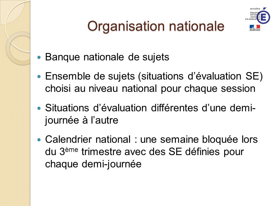 Organisation nationale