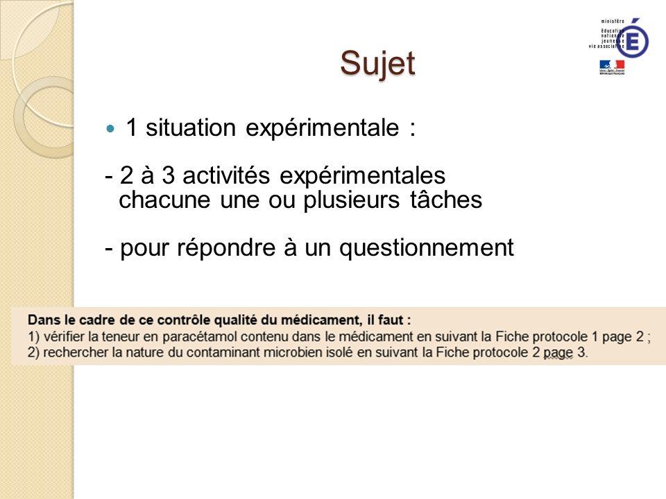 Sujet 1 situation expérimentale : - 2 à 3 activités expérimentales