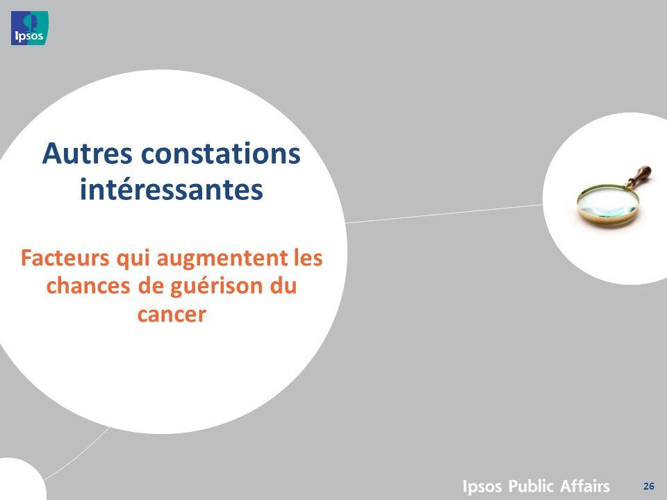 Autres constations intéressantes Facteurs qui augmentent les chances de guérison du cancer