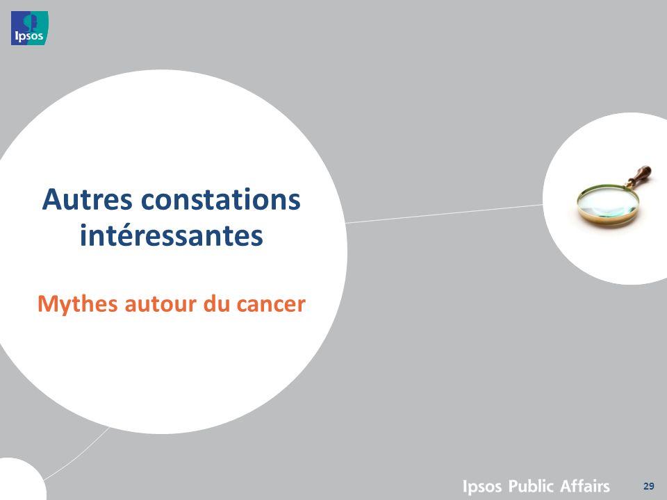 Autres constations intéressantes Mythes autour du cancer