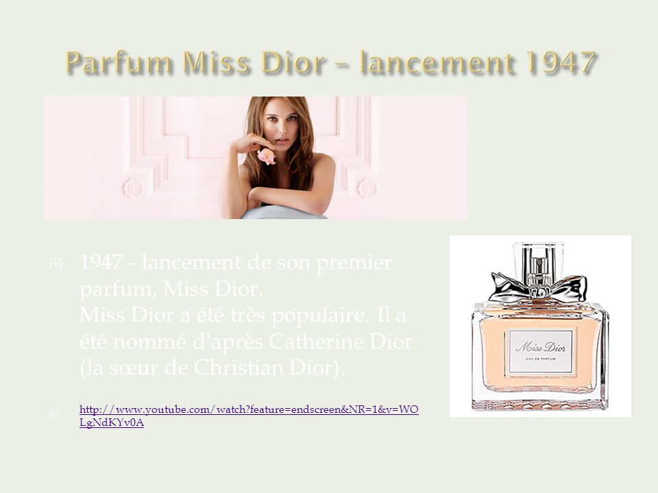 Parfum Miss Dior – lancement 1947
