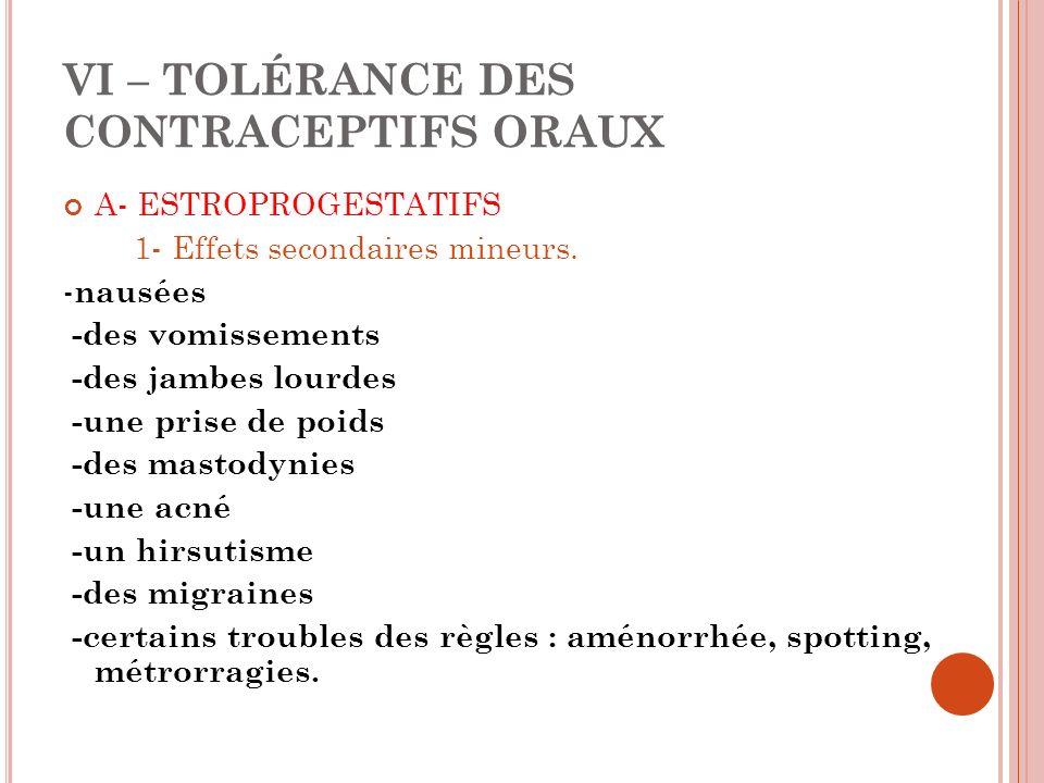 VI – TOLÉRANCE DES CONTRACEPTIFS ORAUX