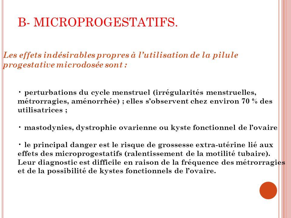 B- MICROPROGESTATIFS. Les effets indésirables propres à l'utilisation de la pilule progestative microdosée sont :