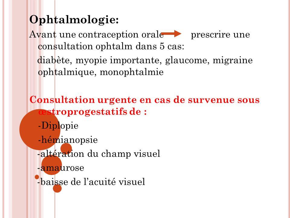 Ophtalmologie: Avant une contraception orale prescrire une consultation ophtalm dans 5 cas: