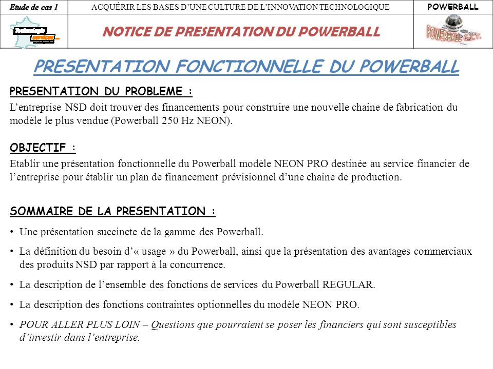 PRESENTATION FONCTIONNELLE DU POWERBALL