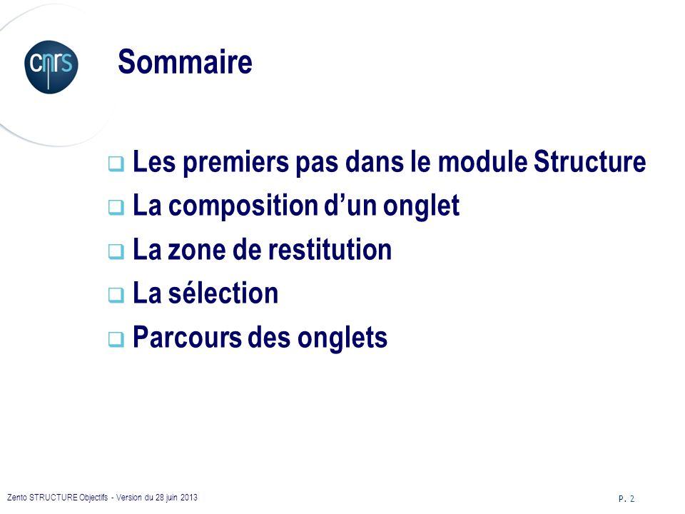 Sommaire Les premiers pas dans le module Structure