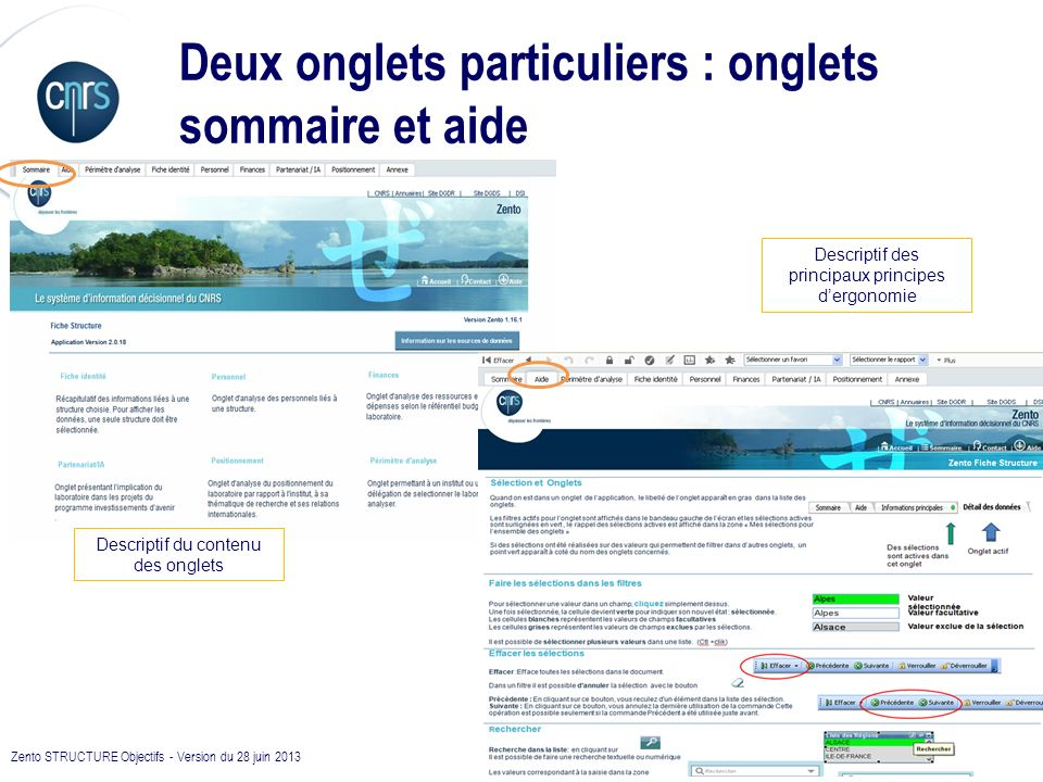 Deux onglets particuliers : onglets sommaire et aide