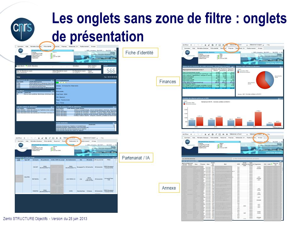 Les onglets sans zone de filtre : onglets de présentation