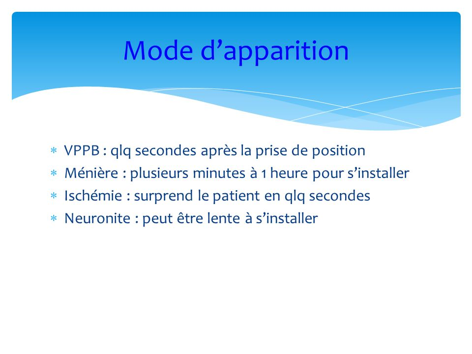 Mode d'apparition VPPB : qlq secondes après la prise de position