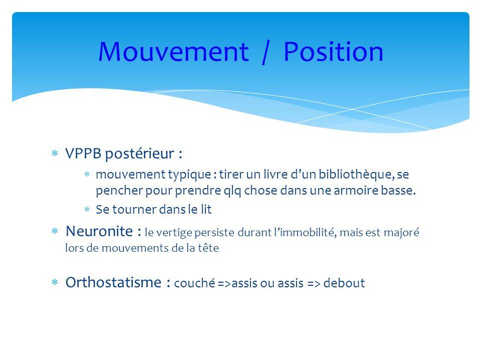 Mouvement / Position VPPB postérieur :