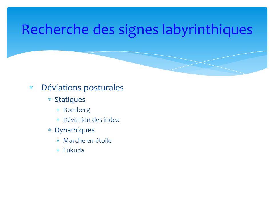 Recherche des signes labyrinthiques
