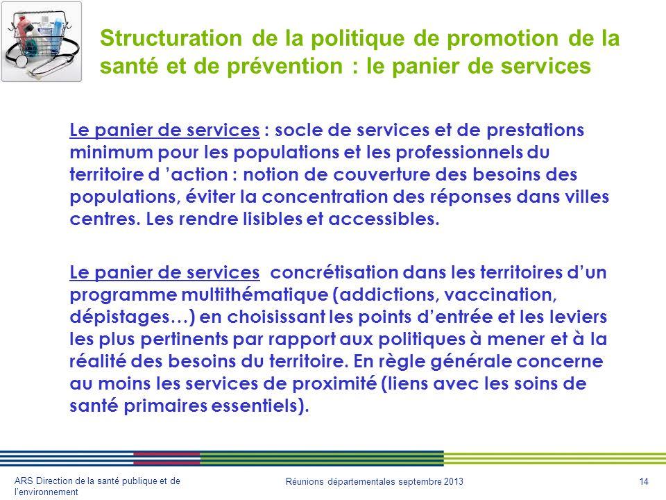 Structuration de la politique de promotion de la santé et de prévention : le panier de services