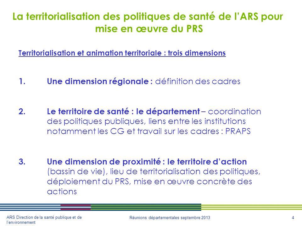 La territorialisation des politiques de santé de l'ARS pour mise en œuvre du PRS