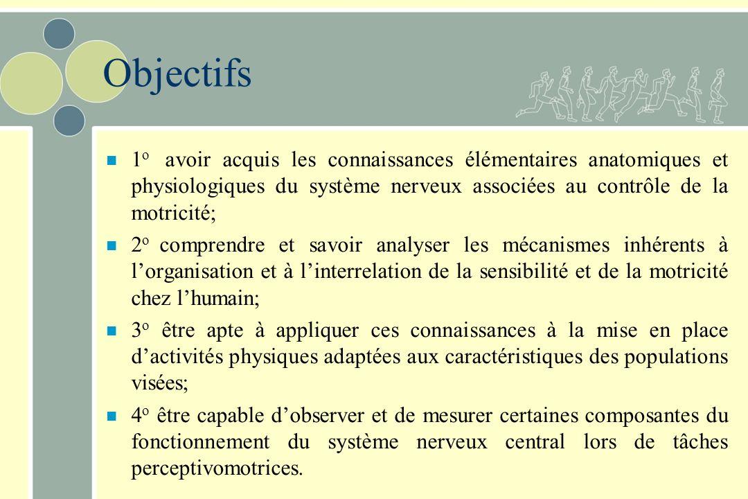 Objectifs 1o avoir acquis les connaissances élémentaires anatomiques et physiologiques du système nerveux associées au contrôle de la motricité;