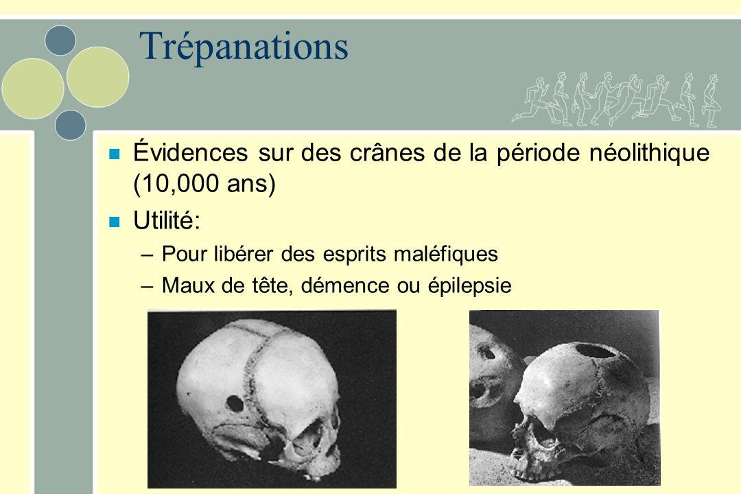 Trépanations Évidences sur des crânes de la période néolithique (10,000 ans) Utilité: Pour libérer des esprits maléfiques.