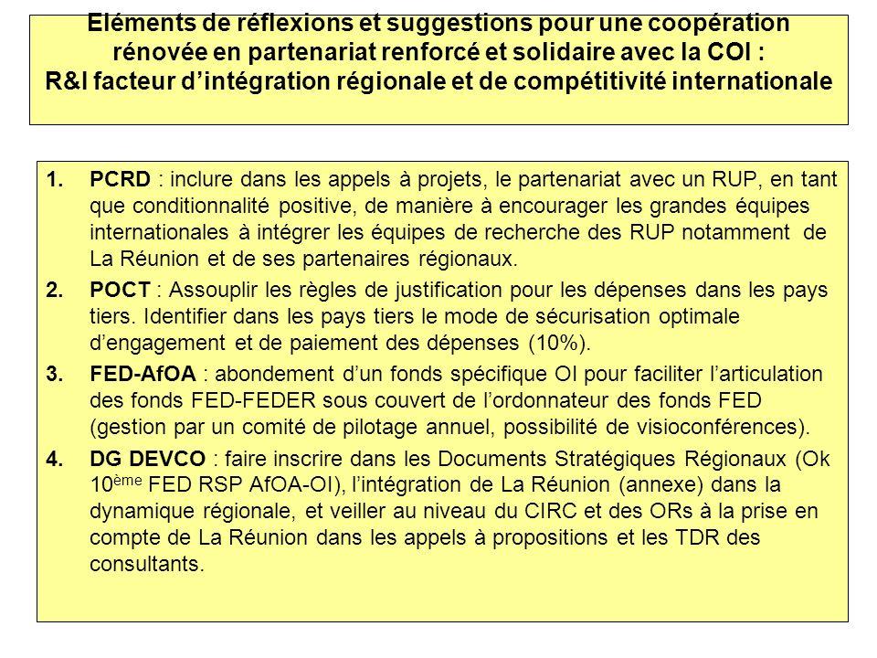 Eléments de réflexions et suggestions pour une coopération rénovée en partenariat renforcé et solidaire avec la COI : R&I facteur d'intégration régionale et de compétitivité internationale