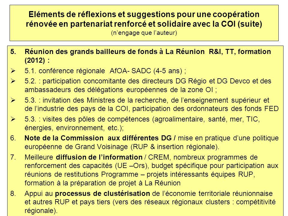 Eléments de réflexions et suggestions pour une coopération rénovée en partenariat renforcé et solidaire avec la COI (suite) (n'engage que l'auteur)