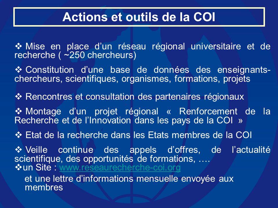 Actions et outils de la COI
