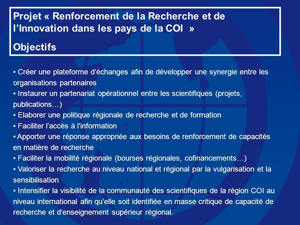 Projet « Renforcement de la Recherche et de l'Innovation dans les pays de la COI »