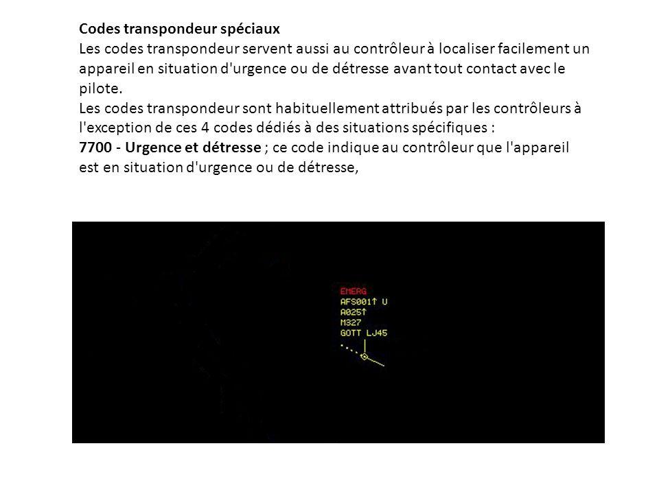 Codes transpondeur spéciaux