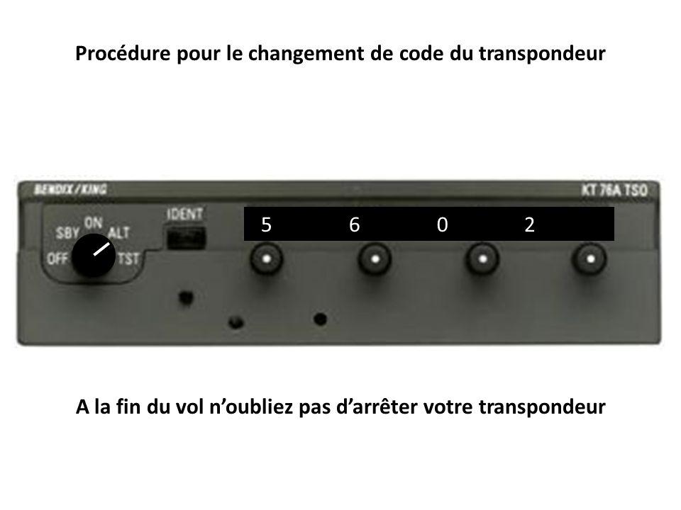 Procédure pour le changement de code du transpondeur
