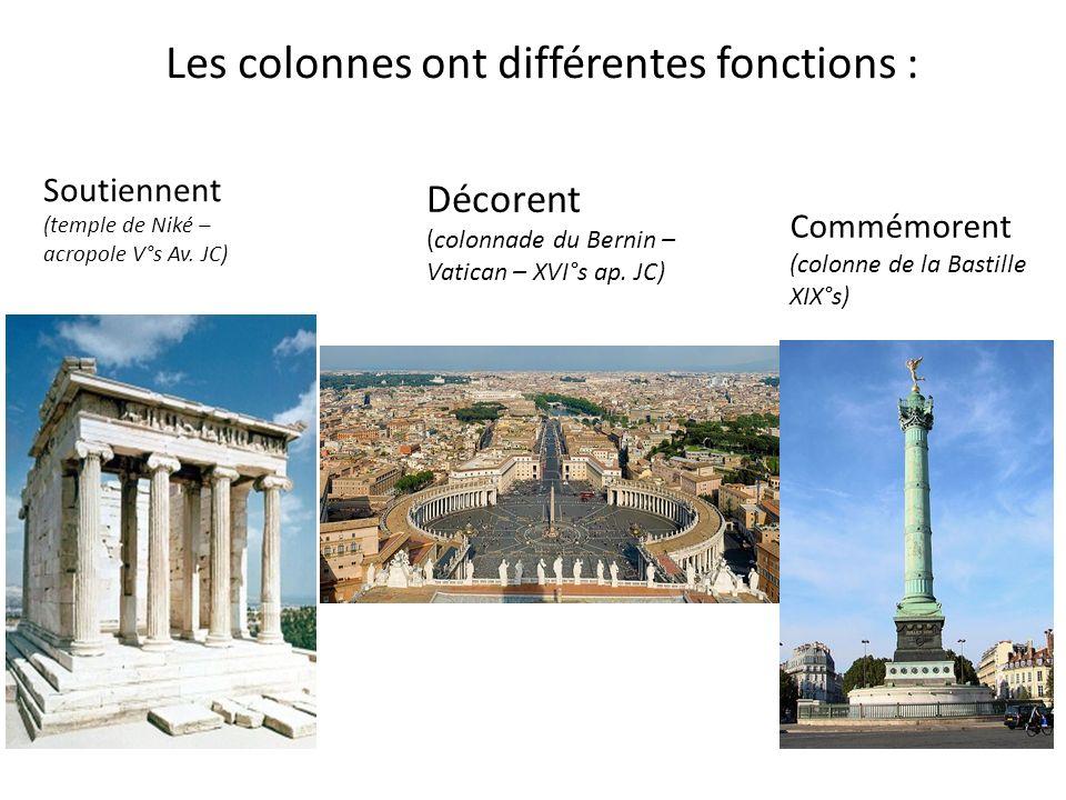 Les colonnes ont différentes fonctions :