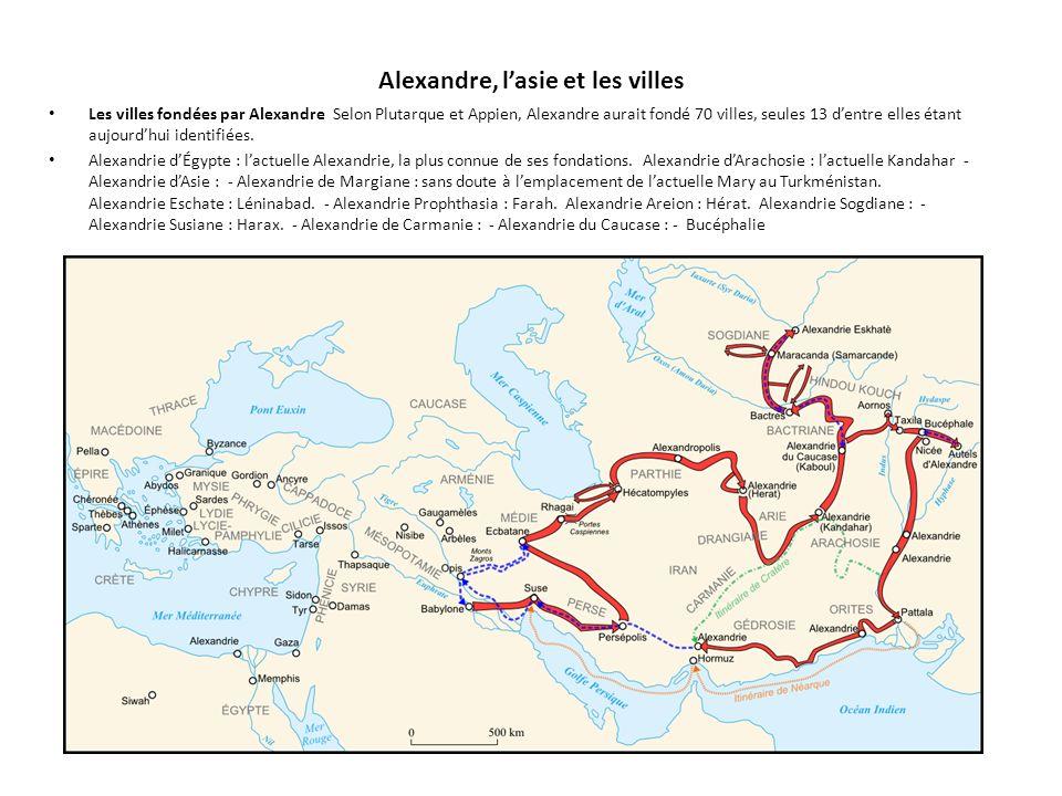 Alexandre, l'asie et les villes