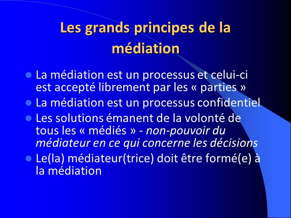 Les grands principes de la médiation