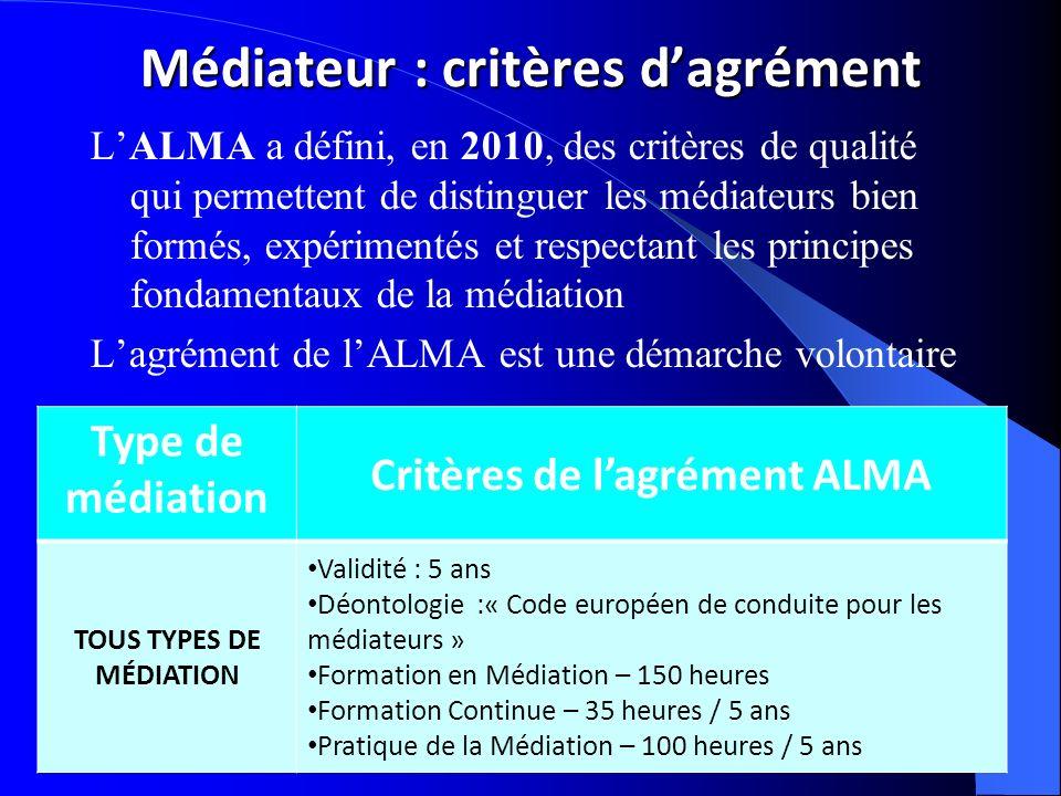 Médiateur : critères d'agrément