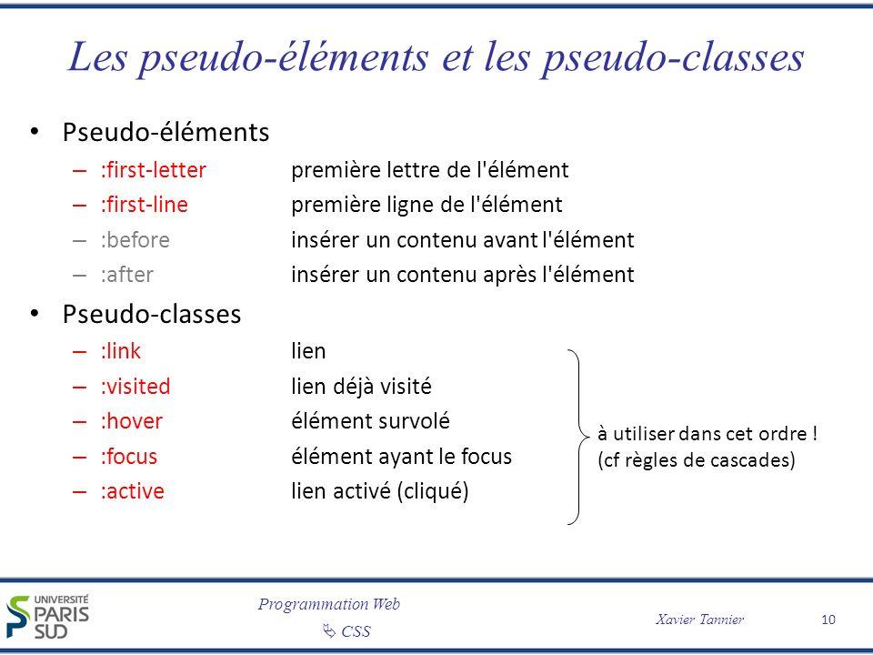 Les pseudo-éléments et les pseudo-classes