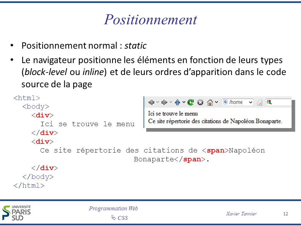 Positionnement Positionnement normal : static