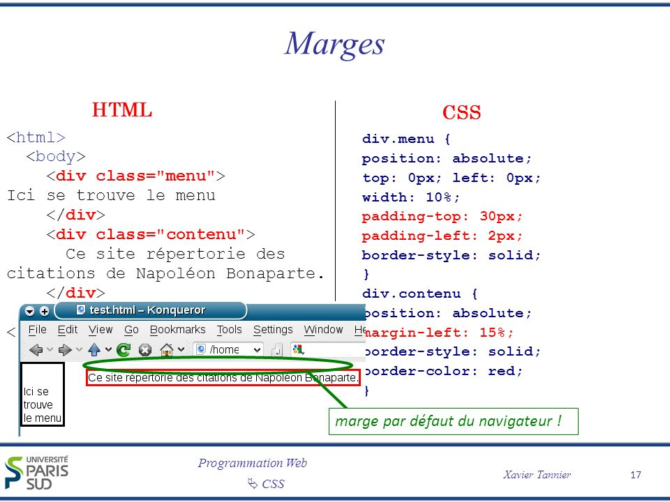 Marges HTML CSS <html> <body> <div class= menu >